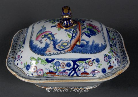 Mason's Ironstone China Vegetable Tureen - Long-Tailed Bird Pattern