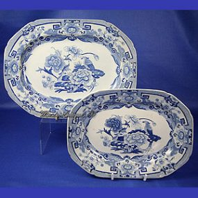 Mason's Ironstone China Ashets - Blue Pheasant Pattern