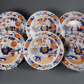Mason's Ironstone China Soup Bowls - Gilded Japan Basket Pattern