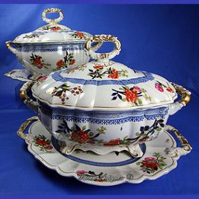 Pair of Mason's Ironstone China Tureens & Stands - Sprigs of Flowers