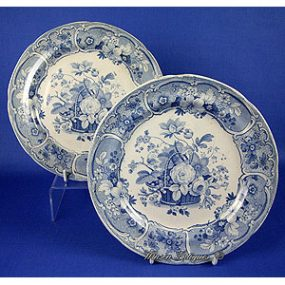 Pair of Mason's Earthenware Plates - Floral Basket Pattern