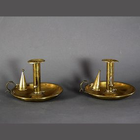 Pair of Early 19th Century Brass Chamber Sticks