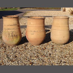 Set of Three Large French Terracotta Pots